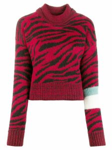 Brognano roll-neck zebra print sweater - Red