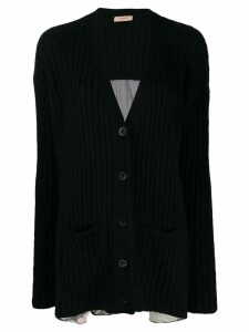 Twin-Set printed ribbed cardigan - Black