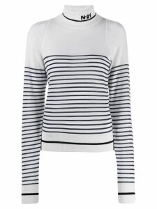 Nº21 striped wool sweater - White