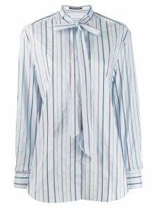 Luisa Cerano striped pussy bow shirt - Blue