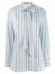 Luisa Cerano striped pussy bow shirt - Blue