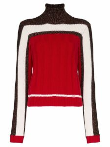 Plan C colour block knit roll neck jumper - Red