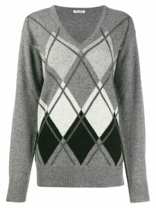 Miu Miu diamond pattern jumper - Grey