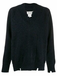 Maison Margiela distressed V-neck sweater - Blue