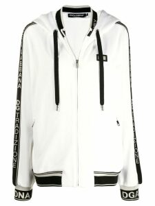 Dolce & Gabbana logo trim hoodie - White