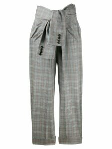 Alexander Wang tie waist check trousers - Blue