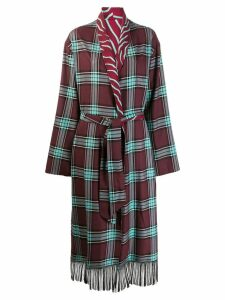 Just Cavalli plaid cardigan coat - Red