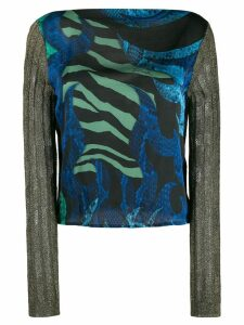 Just Cavalli knitted sleeve top - Black