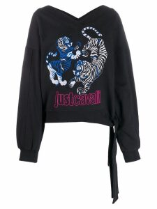 Just Cavalli embroidered tiger logo sweatshirt - Black