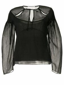 3.1 Phillip Lim Cutout Textured Silk Blouse - Black