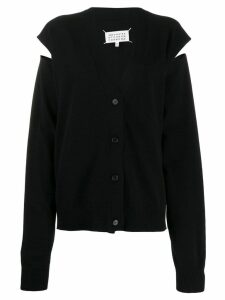 Maison Margiela slit arm knitted cardigan - Black