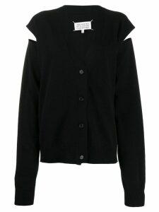 Maison Margiela slit arm knitted cardigan - Black