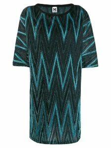 M Missoni zigzag metallic shift dress - Blue