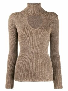 P.A.R.O.S.H. turtleneck sweatshirt with glitter details - NEUTRALS