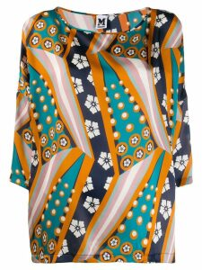 M Missoni printed cropped sleeve blouse - Blue