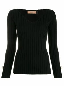 Coliac v-neck ribbed top - Black