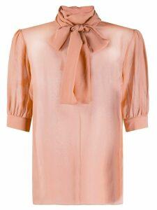 Blumarine pussybow short sleeve blouse - Pink