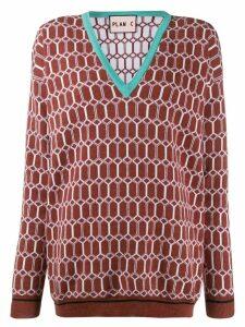 Plan C argyle knit jumper - Brown