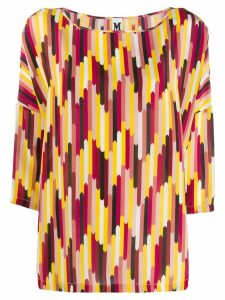 M Missoni printed cropped sleeve blouse - Red