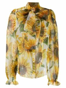 Dolce & Gabbana sunflower-print blouse - White
