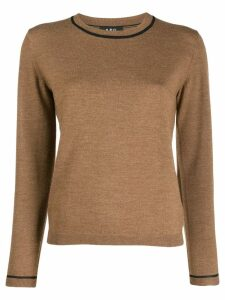 A.P.C. contrast-trim knit sweater - Brown