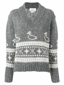 Thom Browne Duck V Neck Pullover - Grey