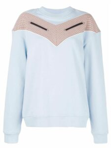 Derek Lam 10 Crosby Cotton Terry Sweatshirt with Checked Chevron Inset