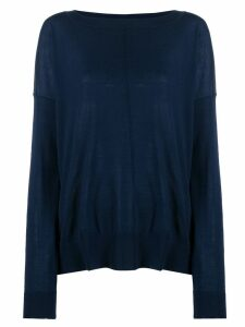 Closed boat neck sweatshirt - Blue