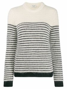Saint Laurent striped crew neck jumper - White