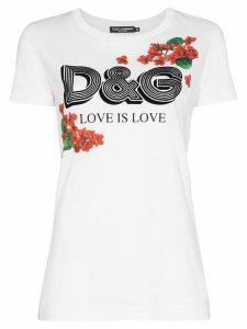Dolce & Gabbana floral logo print T-shirt - White