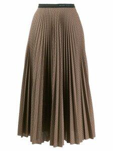 Prada checked pleated midi skirt - NEUTRALS