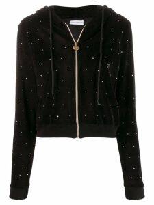 Chiara Ferragni embellished velvet hoodie - Black