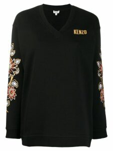 Kenzo floral embroidered V-neck jumper - Black