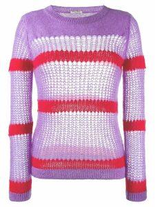 Miu Miu open stitch striped jumper - PURPLE