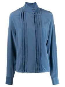 Closed pleated-detail shirt - Blue