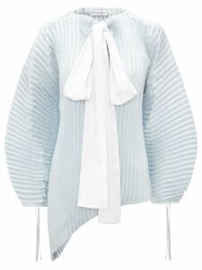 JW Anderson oversized pleated top with bow detail - Blue