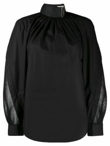 Fendi belted neck draped blouse - Black