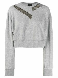 Pinko crystal embellished sweatshirt - Grey