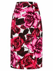 Prada rose print pencil skirt - PINK