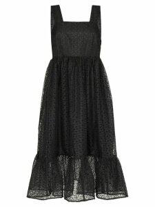 Shrimps Sylvia floral embroidered midi dress - Black