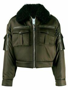 Prada shearling collar aviator jacket - Green