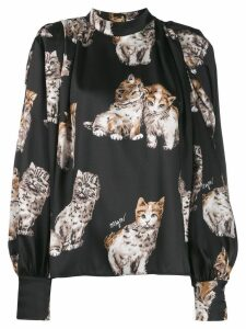 MSGM loose-fit print blouse - Black