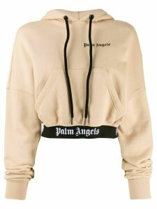 Palm Angels cropped logo hoodie - NEUTRALS