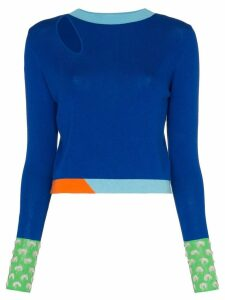 i-am-chen colour-block knitted sweater - Blue