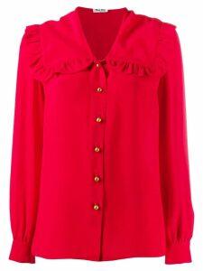 Miu Miu oversized frill collar shirt - Red