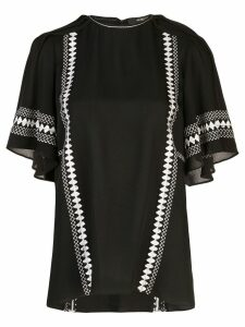 Derek Lam Embroidered Short Sleeve Georgette Blouse - Black