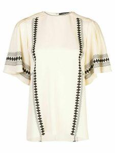 Derek Lam Embroidered Short Sleeve Georgette Blouse - White