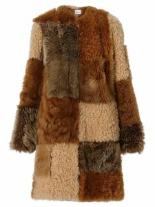 Burberry Patchwork Shearling Coat - Brown