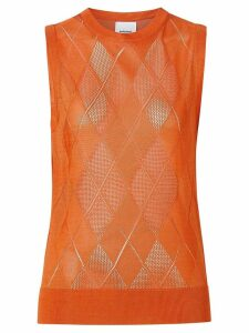 Burberry Monogram Motif Pointelle Knit Vest - ORANGE