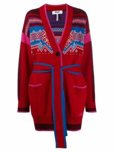 MSGM knitted pattern cardigan - Red